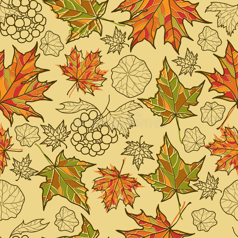 Seamless autumn leaves background. vector illustration