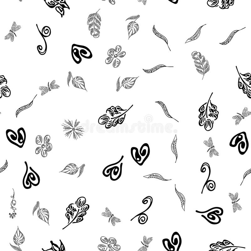 Seamless autumn leaves outline in vintage style. Seamless autumn leaves outline in a hand-drawn style. Simple vector illustration. Hand drawn sketch vector vector illustration