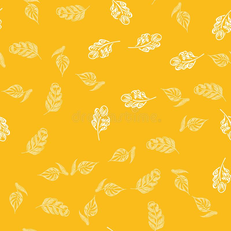 Seamless autumn leaves outline in vintage style. Seamless autumn leaves outline in a hand-drawn style. Simple vector illustration. Hand drawn sketch vector stock photography