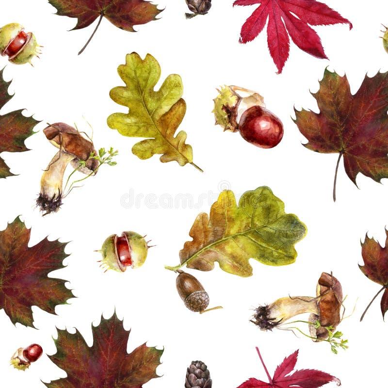 Watercolor hand drawn autumn leaf isolated seamless pattern. Seamless autumn pattern with autumn leaf maple, mushrooms, oak, acorn, chestnut. Hand drawn vector illustration