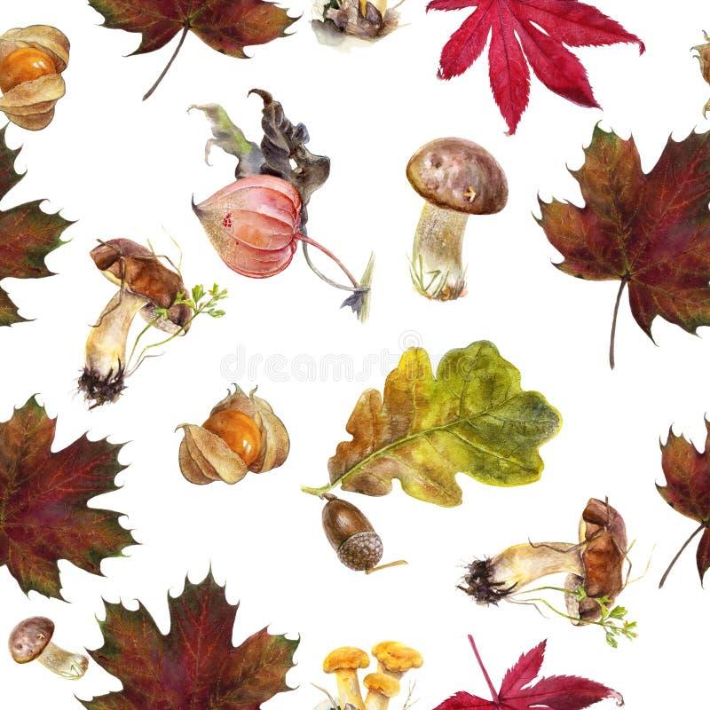 Watercolor hand drawn autumn leaf isolated seamless pattern. Seamless autumn pattern with autumn leaf maple, mushrooms, physalis, oak, acorn. Hand drawn vector illustration
