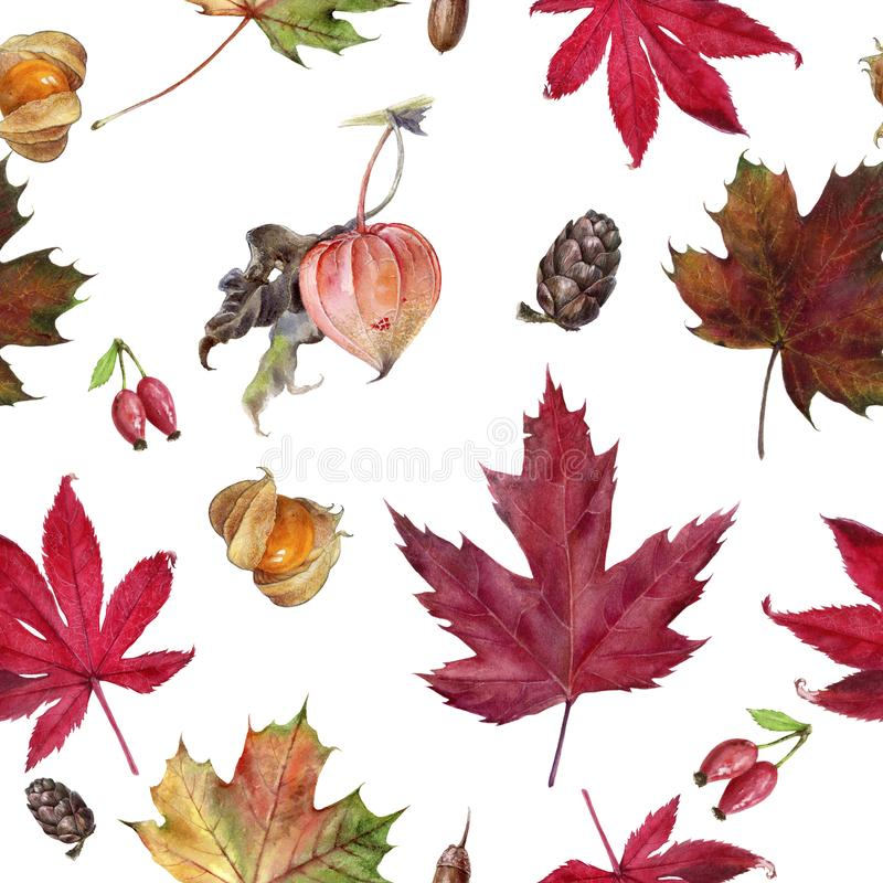 Watercolor hand drawn autumn leaf isolated seamless pattern. royalty free illustration
