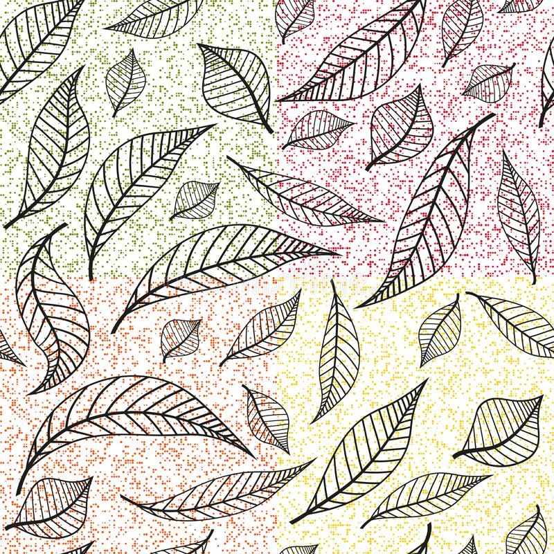 Seamless autumn pattern with colorful polka dot and black leaves stock illustration