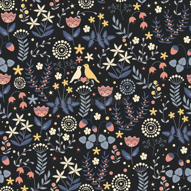 Seamless autumn pattern with cute small birds couple on the doodle flower background. Vector pattern stock illustration