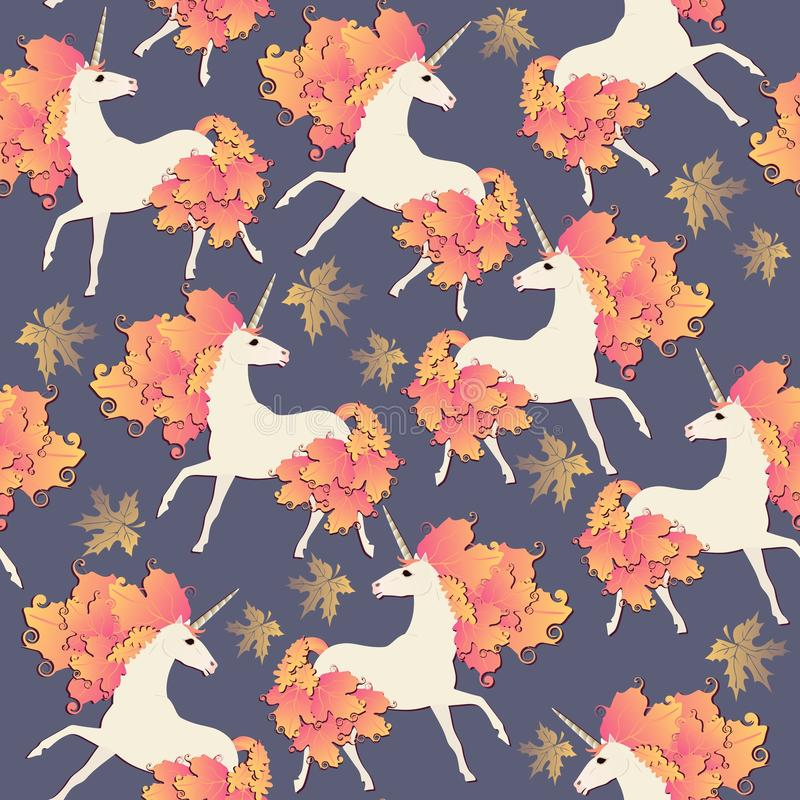 Seamless autumn pattern with fairy unicorns and golden maple leaves isolated on dark blue background in vector royalty free illustration