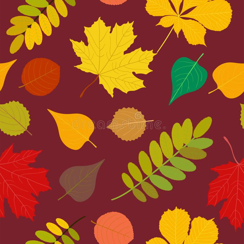 Seamless Autumn pattern Orange, yellow, brown red fall forest rowan, birch, tree leaves and herbs. Wallpaper, background. Seamless Autumn pattern Vector floral stock illustration