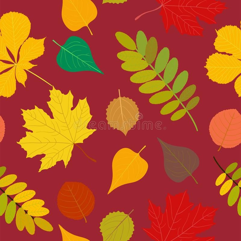Seamless Autumn pattern Orange, yellow, brown red fall forest rowan, birch, tree leaves and herbs. Wallpaper, background. Seamless Autumn pattern Vector floral vector illustration