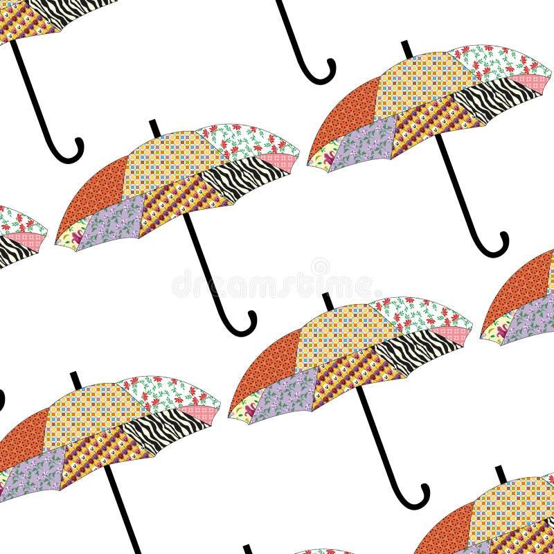 Seamless autumn seasonal pattern with patchwork umbrellas. Isolated on white background stock illustration