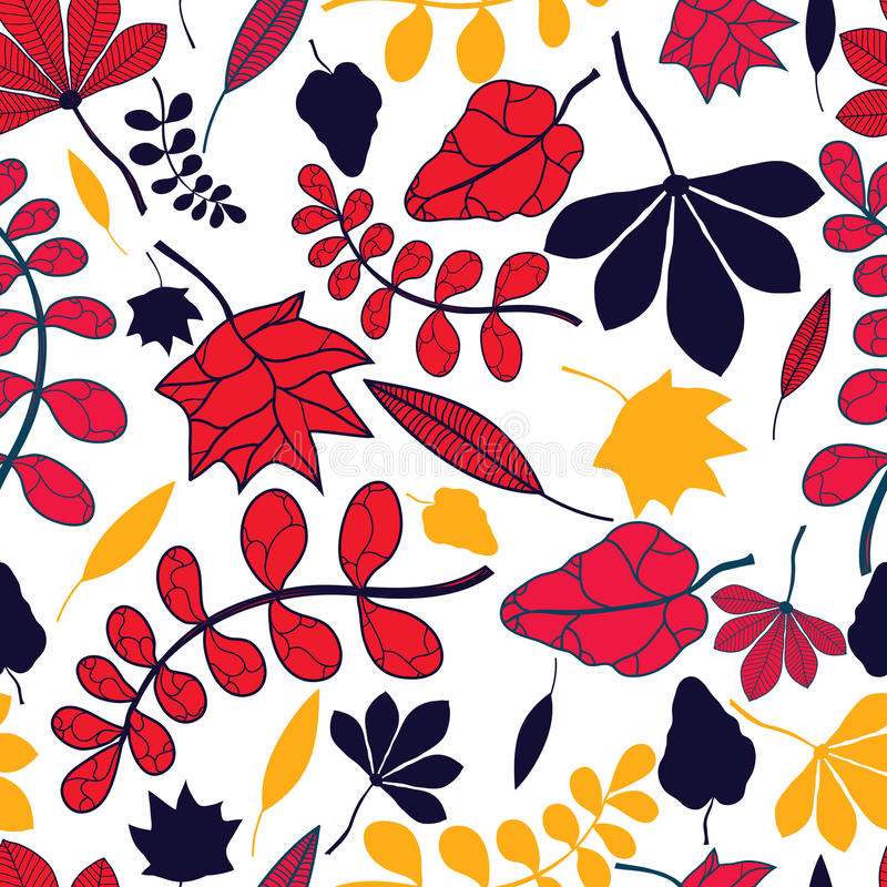 Download Seamless Autumnal Leaves Pattern Stock Vector - Image: 34723321