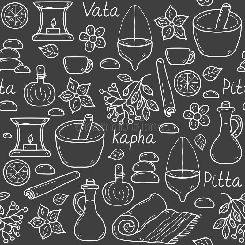Seamless ayurveda background. In hand drawn style: herbs, stones, oil, spices, aromatherapy, towel. Auyrveda healthcare and treatment concept for your design royalty free illustration