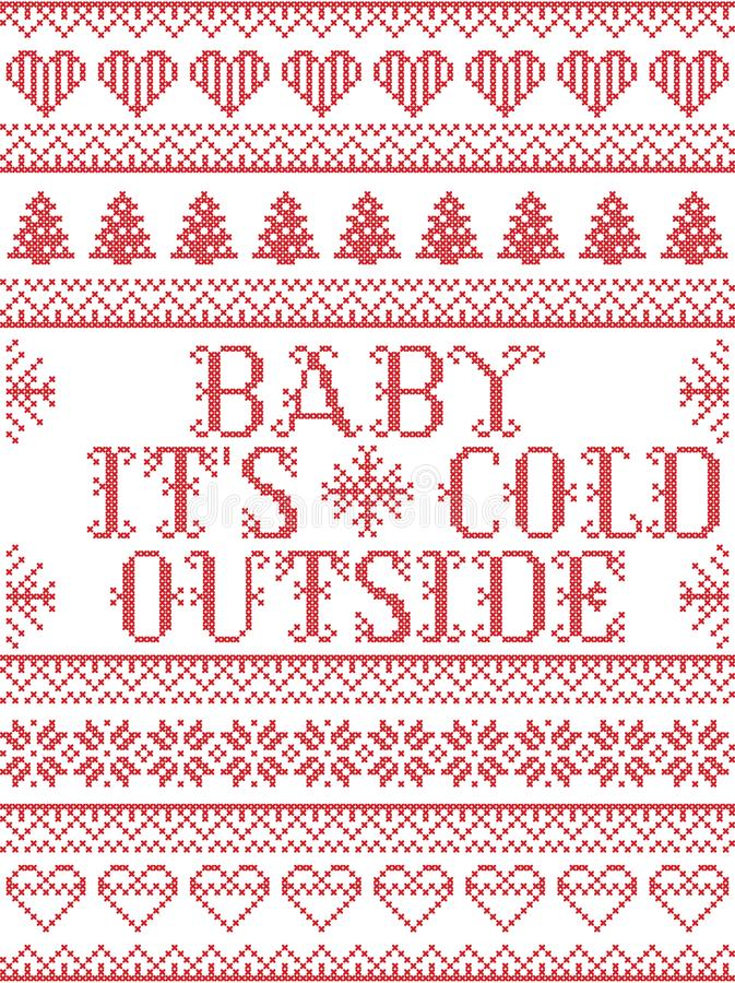 Free Seamless Baby Its Cold Outside Scandinavian Fabric Style, Inspired By Norwegian Christmas, Festive Winter Pattern In Cross Stitch Stock Photo - 105325490