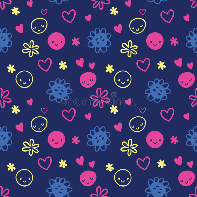Seamless baby pattern with smileys, flowers. royalty free illustration