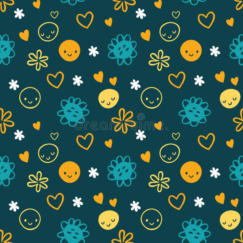 Seamless baby pattern with smileys, flowers. vector illustration