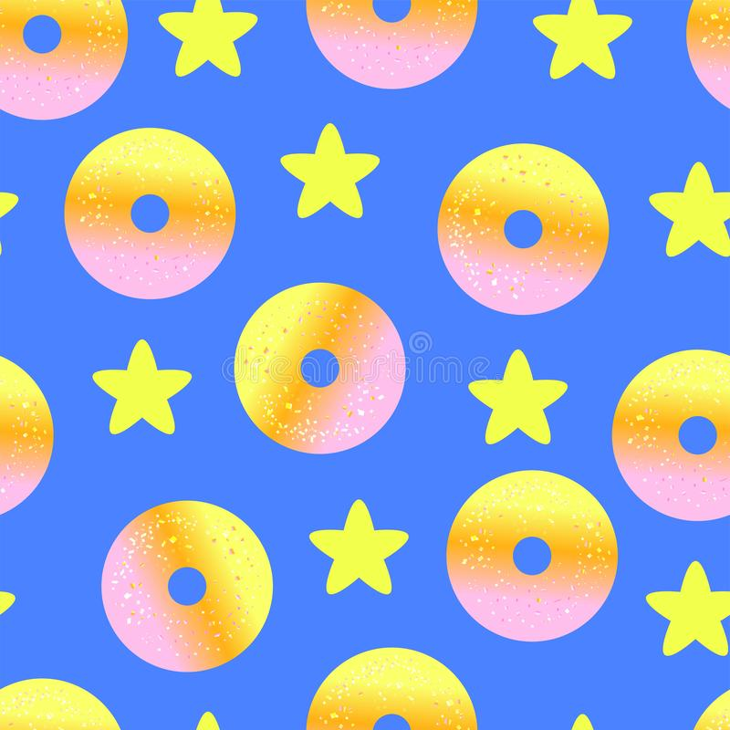 Seamless baby pattern with yellow stars and donuts on blue background. Nn stock illustration