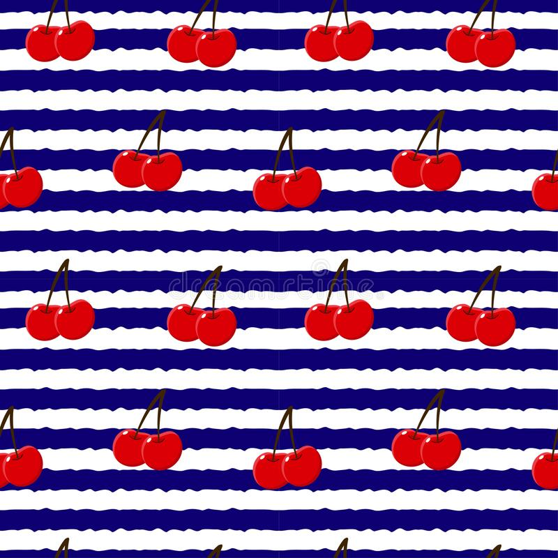 Seamless backgound. Pattern with red berries cherry. White and blue stripes. Vector illustration. Seamless backgound. Pattern with red berries cherry. White and royalty free illustration