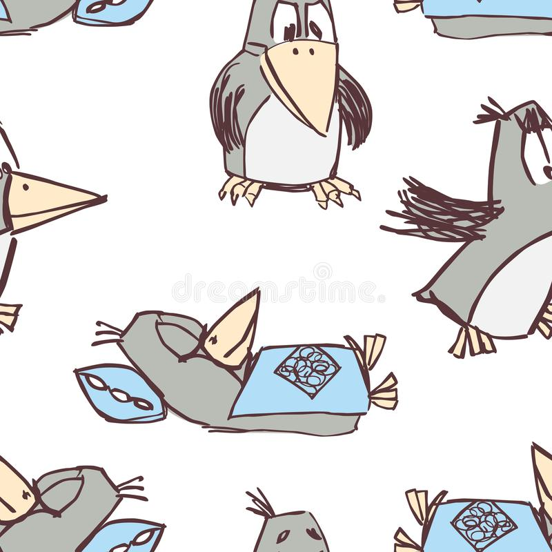 Pattern of the funny cartoon crows royalty free illustration