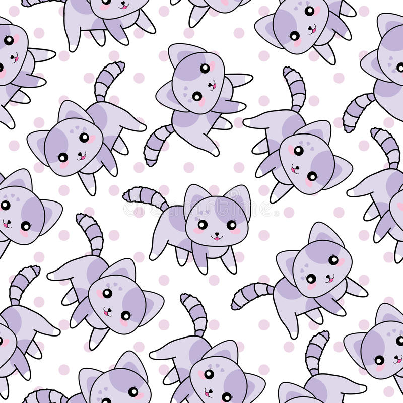 Seamless background of animal illustration with cute purple cats on polka dot background. Suitable for scrap paper, wallpaper, and wallpaper vector illustration