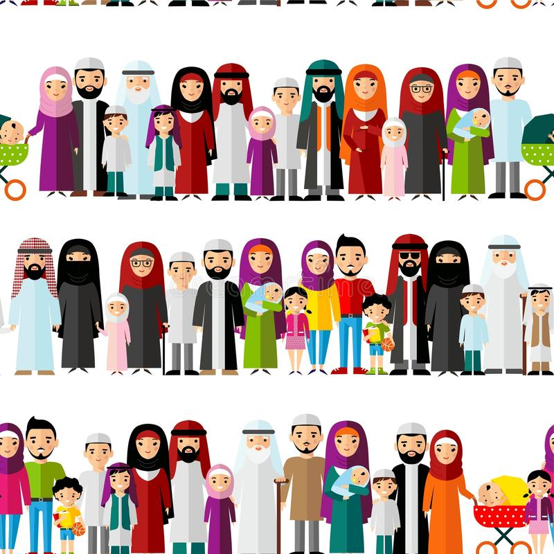 Seamless background of arab families. stock illustration