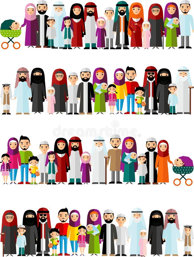 Seamless background of arab families. royalty free illustration