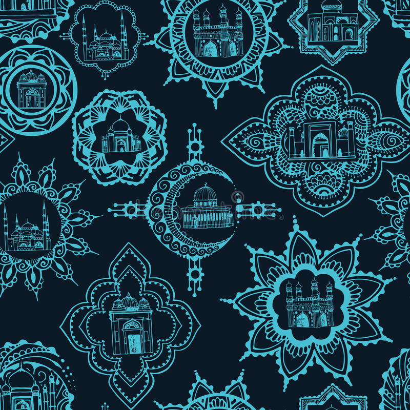 Seamless background with Asian designs vector illustration