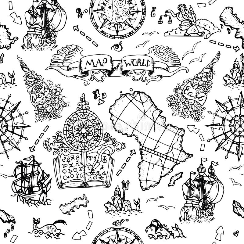 Seamless background with atlas map details, ships and old nautical symbols. Seamless nautical background with world map elements, ancient ships, wind compass and royalty free illustration