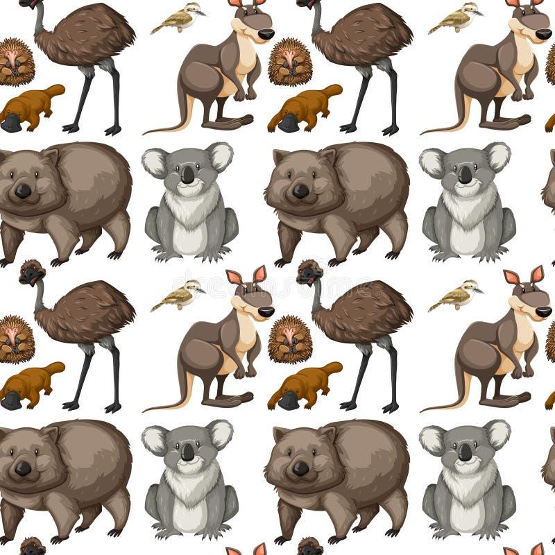 Seamless background with Australian animals stock illustration