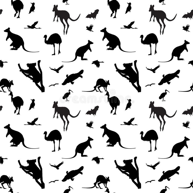 Seamless background with Australian animals. Seamless vector background with Australian animal silhouettes royalty free illustration