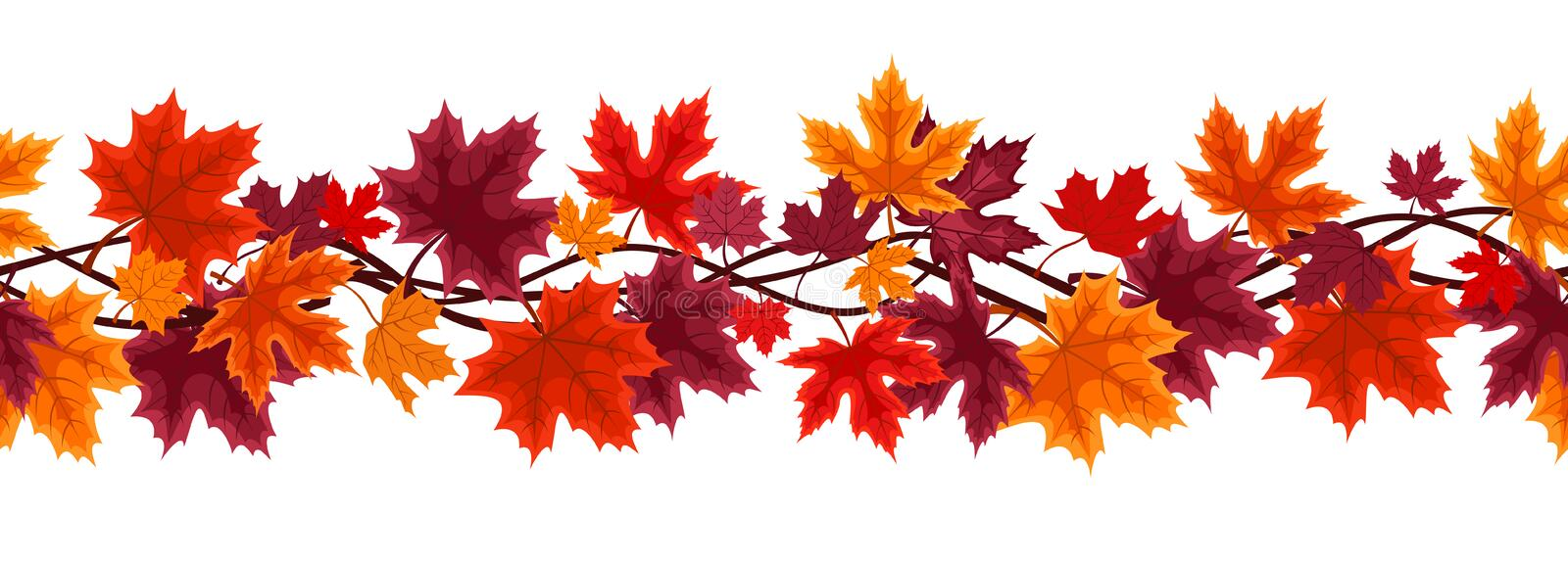 Seamless background with autumn maple leaves. Vector horizontal seamless background with autumn maple leaves of various colors on a white background