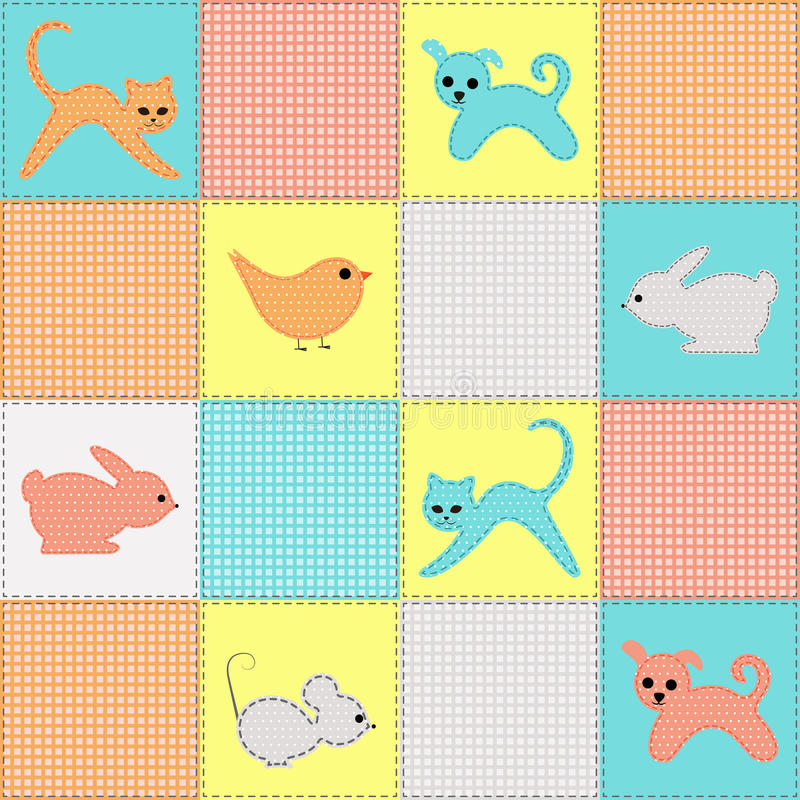Seamless Background With Baby Animals From Fabric Stock Photography