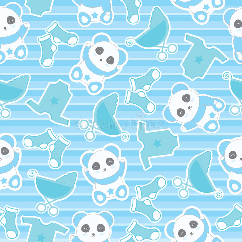 Download Seamless Background Of Baby Shower Illustration With Cute Baby Boy Panda And Baby Clothes On Stripes Background Stock Illustration - Image: 83724979