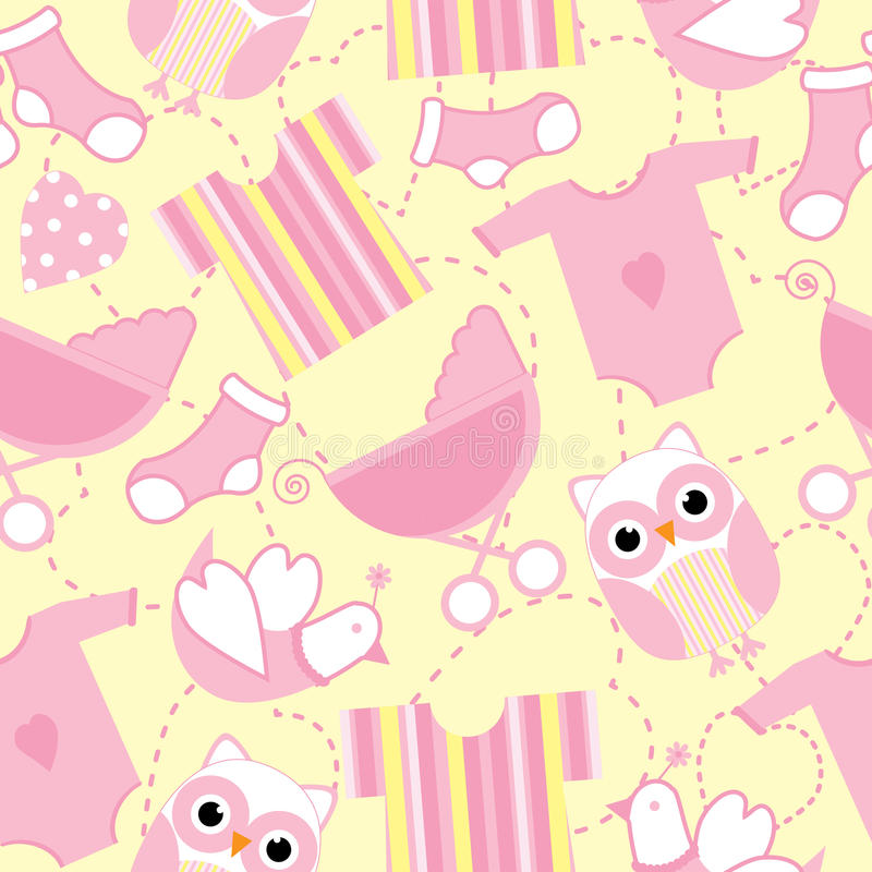 Seamless Background Of Baby Shower Illustration With Cute Pink Baby