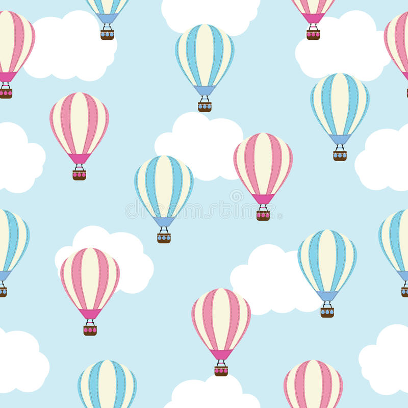 Seamless background of baby shower illustration with cute pink and blue hot air balloon royalty free illustration