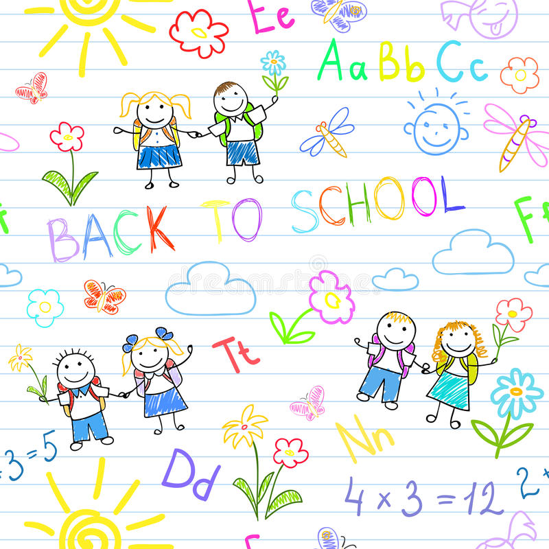 Seamless background. Back to school royalty free stock photo