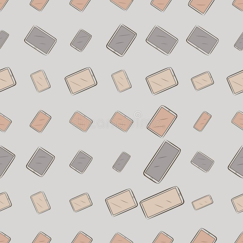 Seamless background or backdrop, handphone or mobilephone hand drawn, for design texture. Shape, messy, style & decoration. Seamless background or backdrop vector illustration