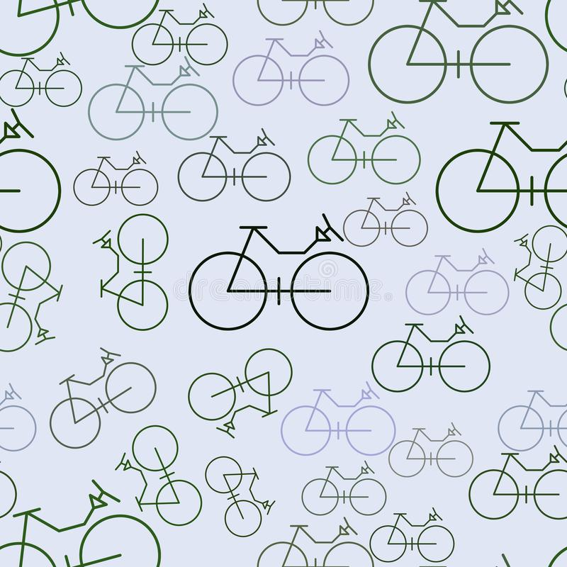 Seamless background or backdrop, outline of bicycle hand drawn, good for design texture. Decoration, repeat, details & art. Seamless background or backdrop stock illustration