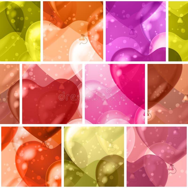 Seamless background with balloon hearts stock illustration
