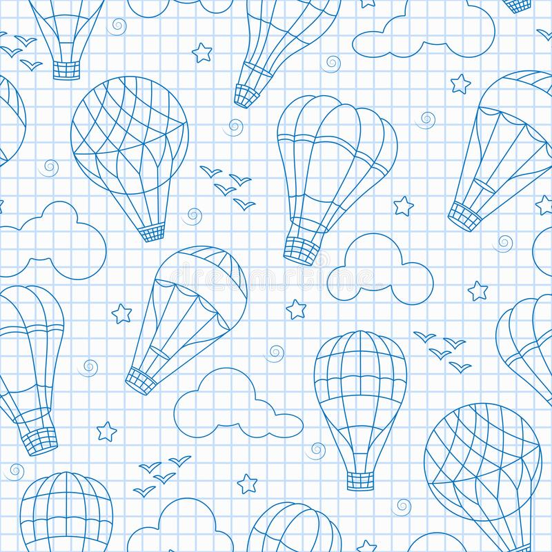 Seamless illustration with balloons , clouds, birds and stars ,blue contour icons on the clean writing-book sheet in a cage. Seamless background with balloons vector illustration