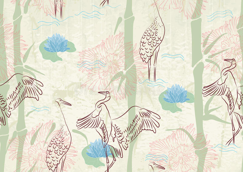 Seamless background with bamboo, stork and lily