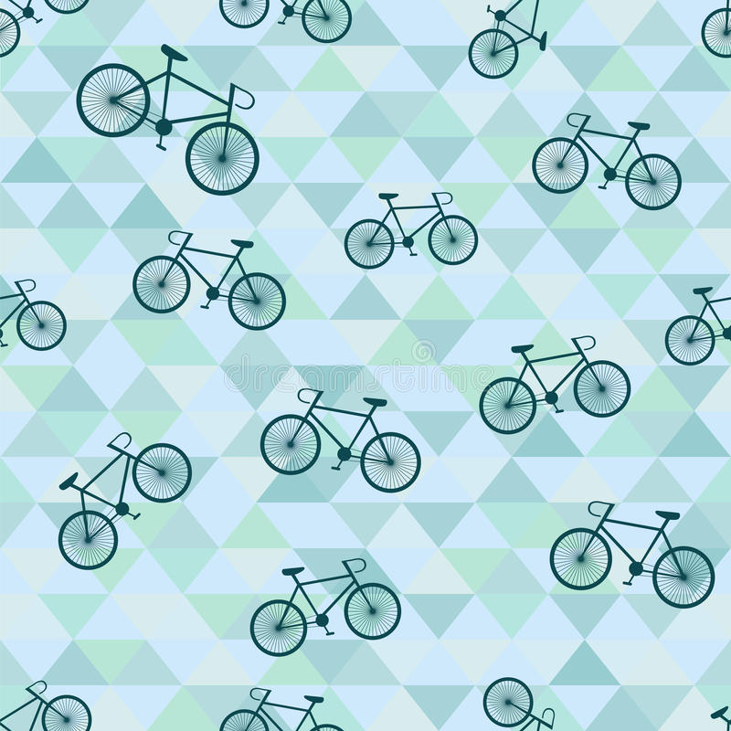Seamless Background With Bicycle And Triangles Stock
