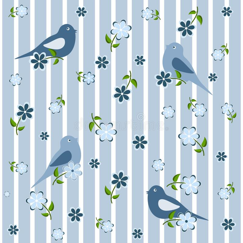 Seamless background with birds and flowers royalty free illustration