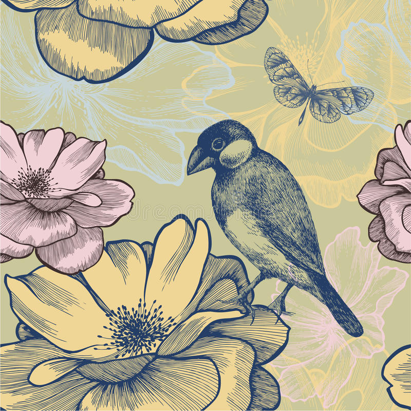 Download Seamless Background With Birds, Roses And Butterfl Stock Vector - Image: 29535460