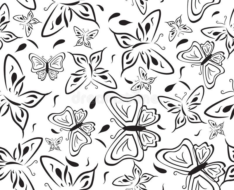 Download Seamless A Background With Black Butterflies Stock Vector - Image: 16037272