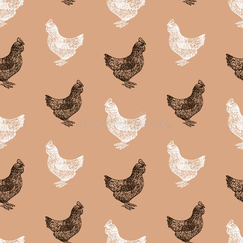 Seamless background of black and white hens royalty free illustration