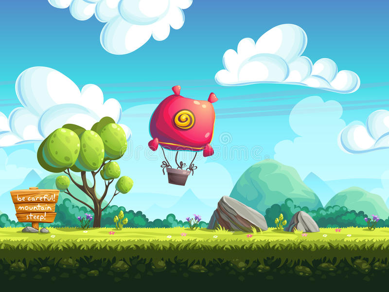 Seamless background blimp above the hills royalty free illustration