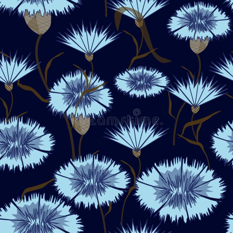 Seamless-background-of-blue-cornflowers stock illustration