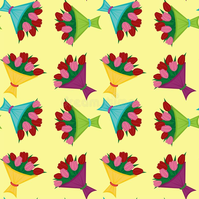 Download Seamless Background With Bouquets Of Tulips Stock Illustration - Illustration of season, leaf: 22553519