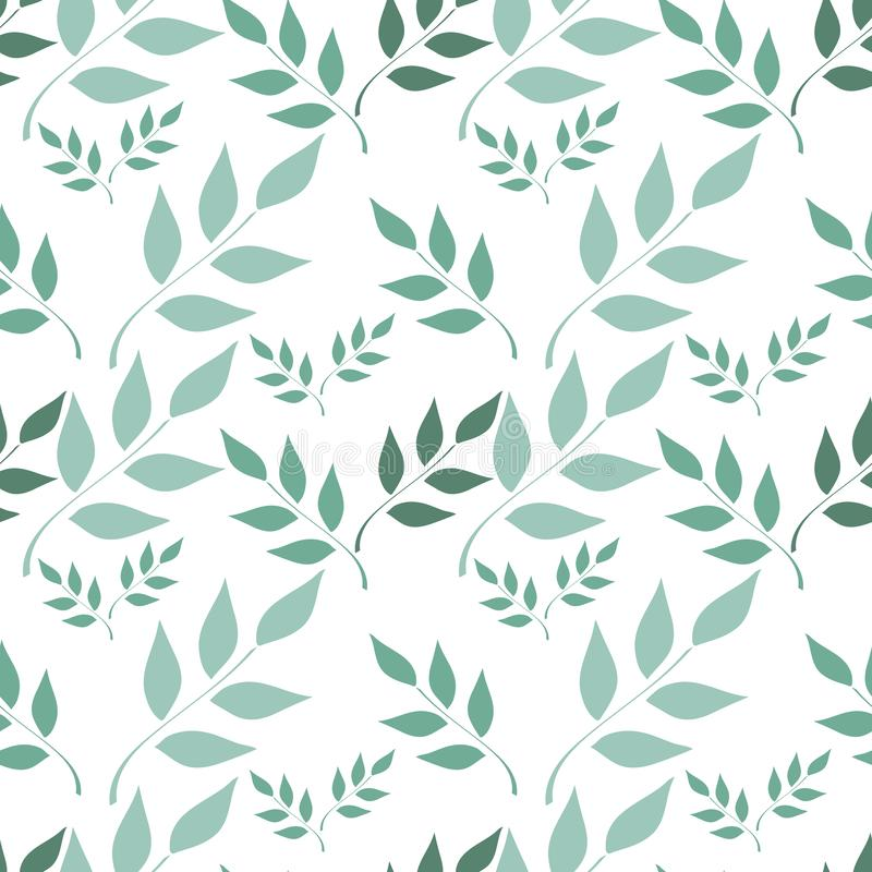 Seamless background, branches with leaves on white background royalty free illustration