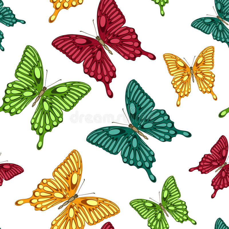 Seamless background with bright colorful butterflies. Beautiful seamless background with bright colorful butterflies . Hand-drawn contour lines and strokes stock illustration