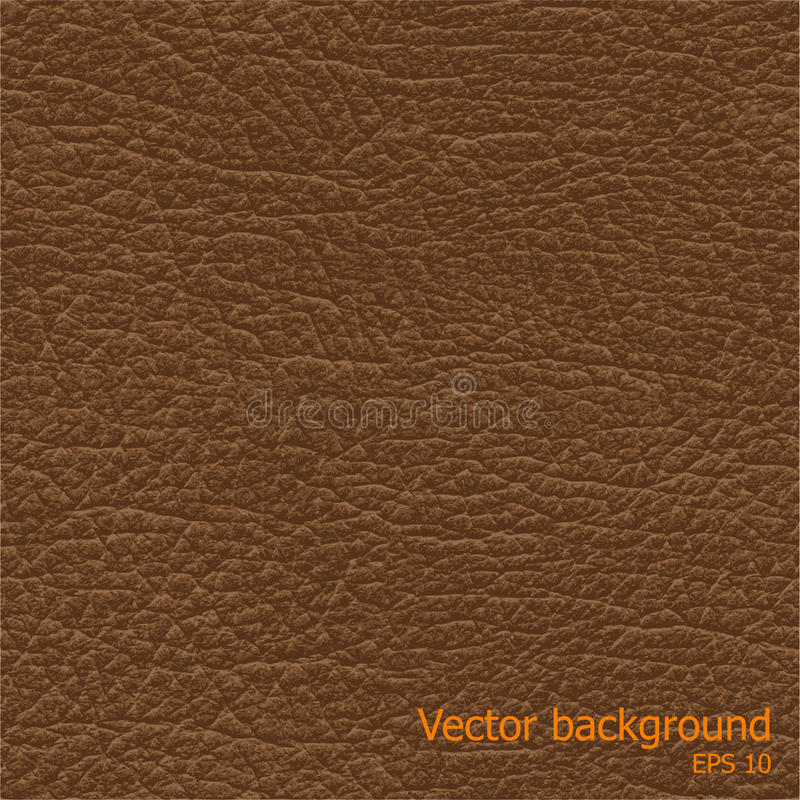 Seamless background of brown leather texture. Seamless brown natural leather texture, detalised vector background stock illustration
