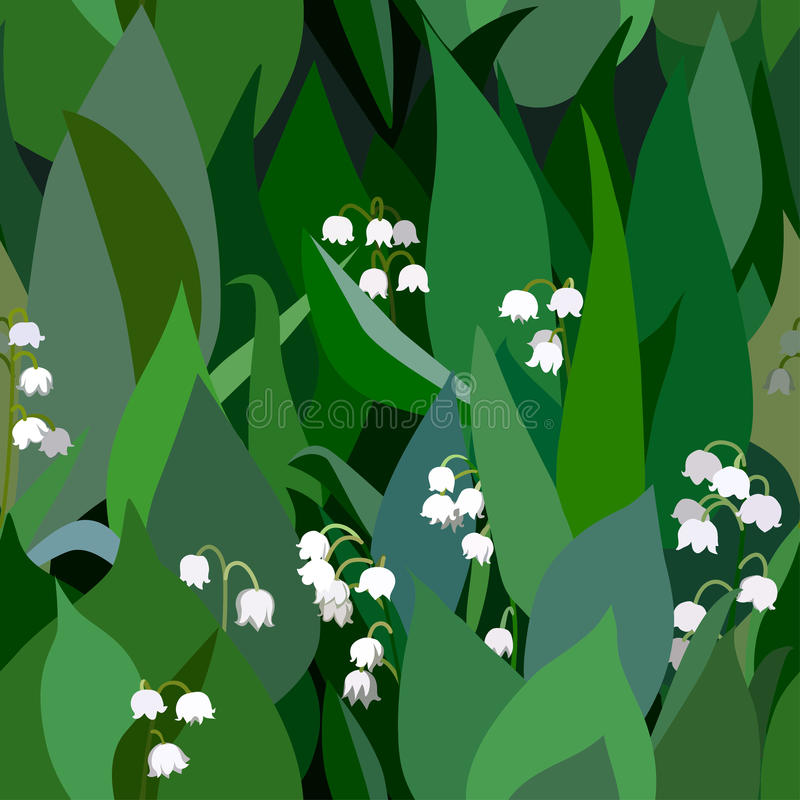 Seamless background from bunch of blossoming lilies of the valley flowers and leaves.  vector illustration